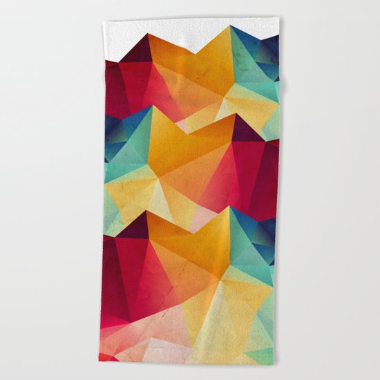 geometric color mountains Beach Towel