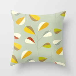Mid Century Modern Graphic Leaves Pattern 1. Vintage green Throw Pillow