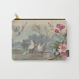 Vintage White Forest Birds Carry-All Pouch