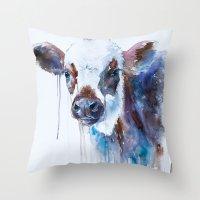 cow Throw Pillows featuring Cow by Slaveika Aladjova