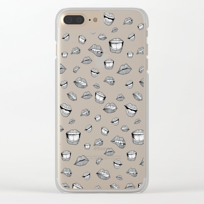 Lips. Black and white drawing. Clear iPhone Case