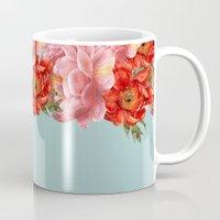 vintage floral Mugs featuring vintage floral by cardboardcities