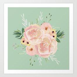 Wild Roses on Pastel Cactus Green Art Print