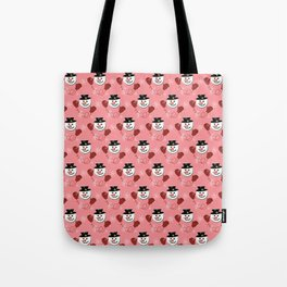 Holiday Snowman Pattern Red Background Tote Bag