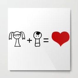 Cute boy and girl love doodle Metal Print