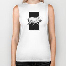 Beetle 1.  White on black background. Biker Tank