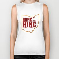lebron Biker Tanks featuring Home of the King (White) by Denise Zavagno
