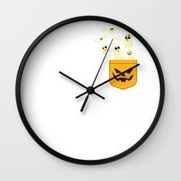 Happy Halloween Jack-O-Lantern Pocket Ghosts T Shirt Wall Clock
