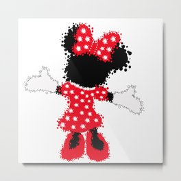 Minnie Mouse Paint Splat Magic Metal Print