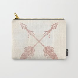Tribal Arrows Rose Gold on Paper Carry-All Pouch