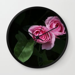 Pink and Dark Green Roses on Black Wall Clock