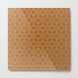 Hexagonal Circles - Tumeric Metal Print