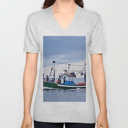 Traditional fishing boat off Tenerife in the Canary Islands Unisex V-Neck