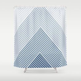 Shades of Blue Abstract geometric pattern Shower Curtain