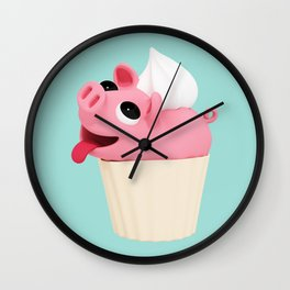Rosa Cupcake blue Wall Clock