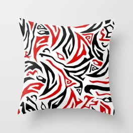 Parts Abstract Black and Red Throw Pillow