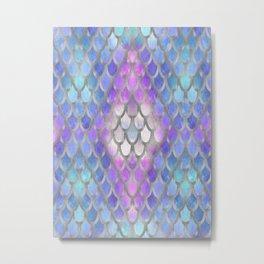 Pastel Diamond Mermaid Scales Metal Print