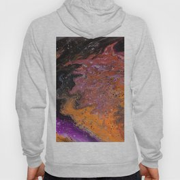 strange visions 23, acrylic abstract painting, violet, orange, black Hoody