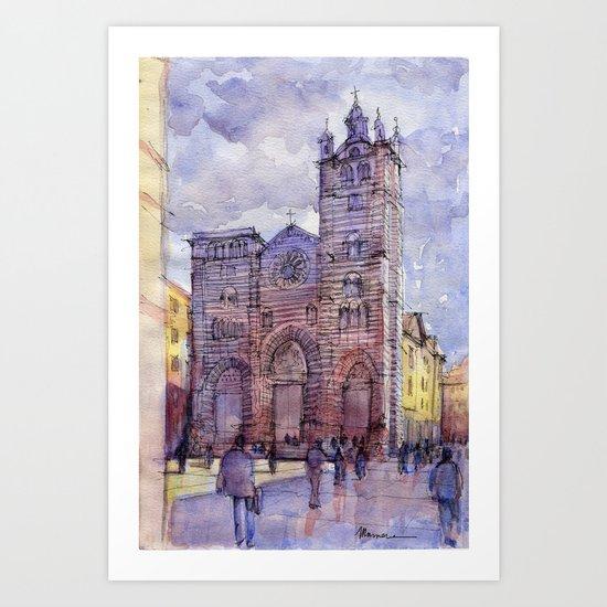 Cattedrale di Genova (Italy) schizzo di studio a colori Art Print