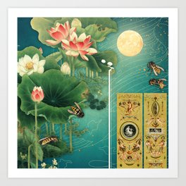 Lotus Full Moon Garden :: Fine Art Collage Art Print