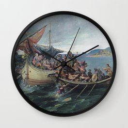 Vintage Viking Naval Battle Artwork Wall Clock