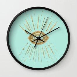 Evil Eye Gold on Mint #1 #drawing #decor #art #society6 Wall Clock