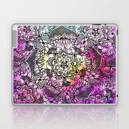 Floral mandala handdrawn pink nebula watercolor Laptop & iPad Skin