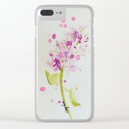 Lilac Sweet Pink Blossom watercolor by CheyAnne Sexton Clear iPhone Case
