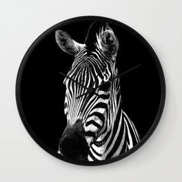 Zebra Black Wall Clock