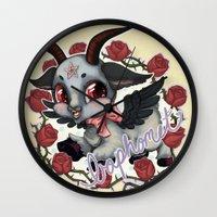 baphomet Wall Clocks featuring Baphomet Cutie by Artetak