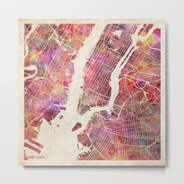 New York Map Watercolor Metal Print