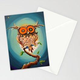 Búho noche estrellada Stationery Cards