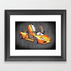 Orange Bull Framed Art Print