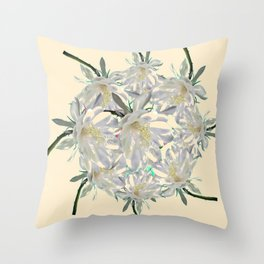 WHITE  NIGHT BLOOMING TROPICAL CEREUS  ON CREAM ART Throw Pillow