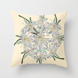 WHITE  NIGHT BLOOMING TROPICAL CEREUS  ON CREAM ART Throw Pillow