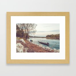 Boats moored along the banks of the Ticino river at sunset Framed Art Print