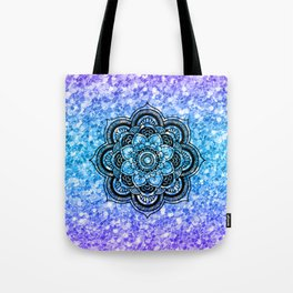 Colorful glitter & black mandala Tote Bag