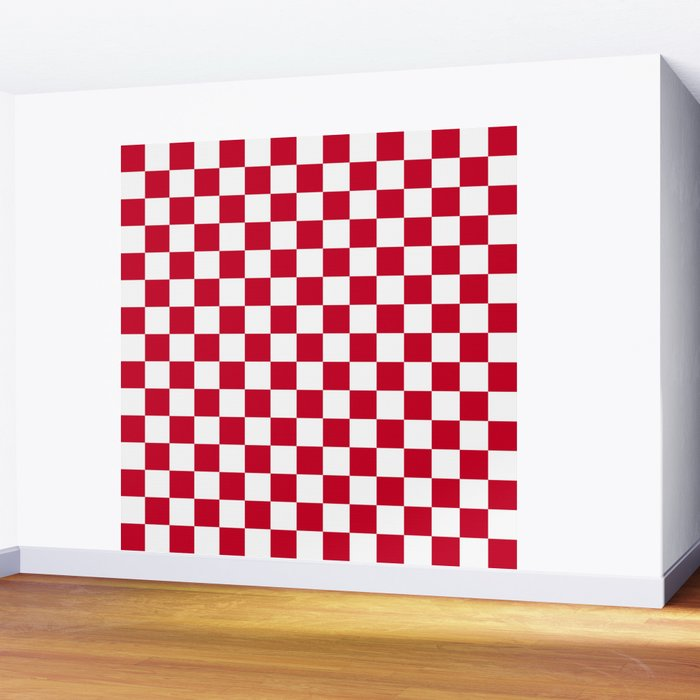 Red and White Check Wall Mural