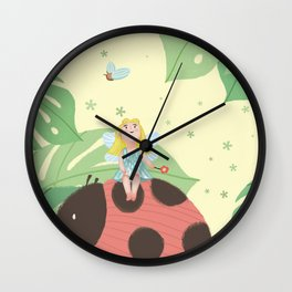 Girl On Ladybug Wall Clock