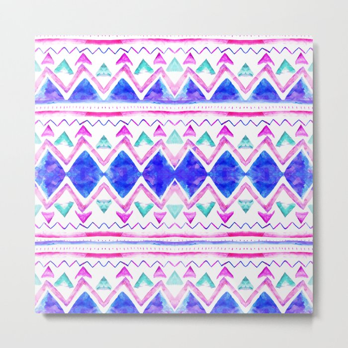 Abstract blue purple pink hand drawn watercolor geometric aztec pattern Metal Print