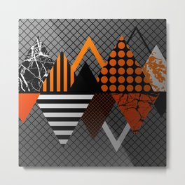 Industrial Geometry - Metallic, geometric, bronze, silver and gold, textured, patterned artwork Metal Print