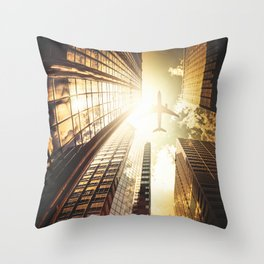 airplane in new york city Throw Pillow