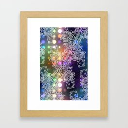 White Lace on Neon Lights Abstract Framed Art Print