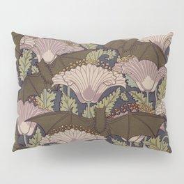 Vintage Art Deco Bat and Flowers Pillow Sham