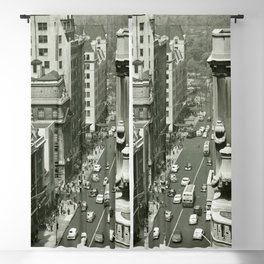 Fifth Avenue, New York City, B&W, high angle view 1950s vintage photo Blackout Curtain