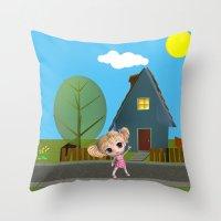 chibi Throw Pillows featuring Chibi Girl by ChibiGirl