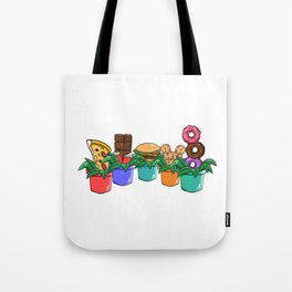 A Cute Greeny Food Plant Tee For You With Illustration Of Foods on A Pot T-shirt Design Pizza  Tote Bag