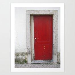 Red wood door Art Print
