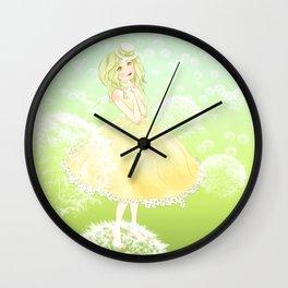 Green Dandelion Girl  Wall Clock