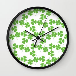 Lucky Shamrock Clover Leaves Wall Clock